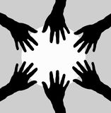 Group of hands in circle as teamwork Stock Image