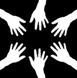 Group of hands in circle as teamwork. Black and white Stock Image