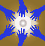 Group of hands in circle as teamwork. Blue and brown Royalty Free Stock Images