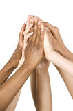 Group of Hands Coming Together. Isolated on White. Royalty Free Stock Photo