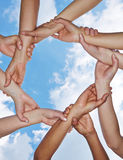 Group of hands forming a chain Royalty Free Stock Images