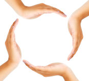 Group of hands forming a circle Royalty Free Stock Photos
