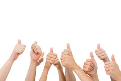 Group of hands giving thumbs up Royalty Free Stock Image
