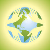 Group of hands with globe. Protect earth Stock Photography
