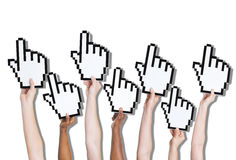 Group of Hands Holding Click Icon Stock Photography