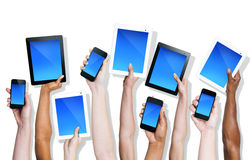 Group Hands Holding Digital Devices Royalty Free Stock Photos