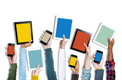 Group of Hands Holding Digital Devices royalty free stock photos