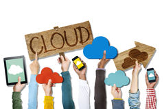 Group of Hands Holding Digital Devices with Cloud Concept Stock Photo