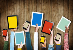 Group Hands Holding Digital Devices Copy Space Concept Royalty Free Stock Photography