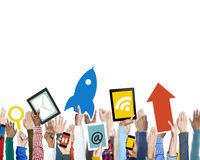 Group Hands Holding Digital Devices Symbols Concept Royalty Free Stock Image