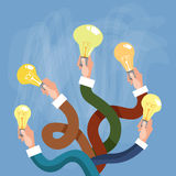 Group Hands Holding Light Electric Bulb New Idea Concept Royalty Free Stock Image