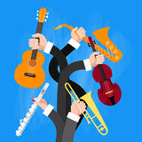 Group Hands Holding Musical Instruments Royalty Free Stock Photography