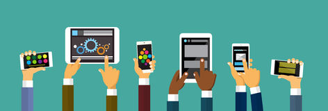 Group Hands Holding Smart Cell Phone Tablet Computer, Technology Concept. Flat Vector Illustration Royalty Free Stock Photography