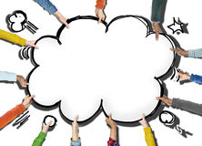 Group of Hands Holding Speech Bubble Cloud Shape Stock Photo
