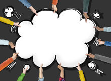 Group of Hands Holding Speech Bubble Cloud Shape Stock Photography