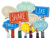 Group of Hands Holding Speech Bubble with Social Issue Concepts Stock Images