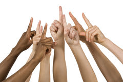 Group of Hands Holding up the Number One Sign Stock Photos