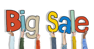 Group of Hands Holding Word Big Sale Royalty Free Stock Photo