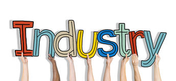 Group of Hands Holding Word Industry Stock Images