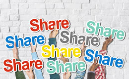 Group of Hands Holding the Word Share royalty free stock photography