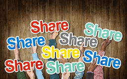 Group of Hands Holding the Word Share royalty free stock images