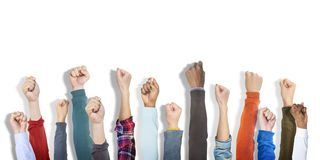 Group of Hands Raised and Background Royalty Free Stock Image