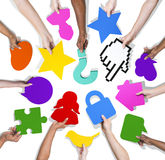 Group of Hands with Social Media and Communication Royalty Free Stock Photos