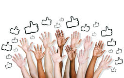 Group of Hands with Thumbs Up Symbol Stock Photos