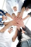 Group of hands together of young businesspeople. Stack of coordination hands Success Teamwork under viwe. Group of hands together of young business people. Stack royalty free stock image