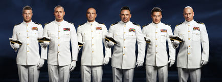 Group of 6 handsome captain Royalty Free Stock Photography