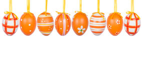 Group of hanging Easter eggs on a white background Royalty Free Stock Photos