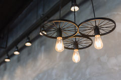 group of hanging lights in coffee shop Stock Images
