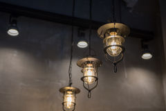 group of hanging lights in coffee shop Royalty Free Stock Image