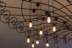 group of hanging lights in coffee shop Stock Photo
