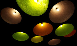 A group of hanging lights with shallow depth of field. Stock Photo