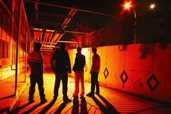 Group Hanging Out At Night Stock Photography