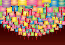 Group of hanging paper lanterns Stock Photos