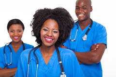 Afro american nurses. Group of happy afro american nurses on white background Royalty Free Stock Photo