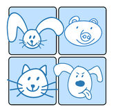 A group of happy animal face. Vector illustration Stock Illustration