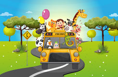 A group of happy animals travelling. Illustration of a group of happy animals travelling Stock Photo