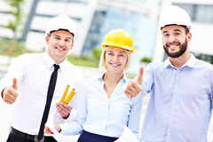 Group of happy architects on site Royalty Free Stock Photography