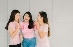 Asian girlfriends with breast cancer awareness ribbon. Group of happy Asian girlfriends in pink shirt with breast cancer awareness ribbon royalty free stock photography
