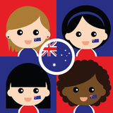 Group of happy Australia's supporters Royalty Free Stock Photography