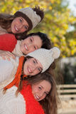 Group of happy autumn kids Royalty Free Stock Image