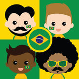 Group of happy Brazil's supporters Stock Image