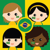 Group of happy Brazil's supporters Stock Photo