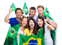 Group of happy brazilian soccer fan Stock Photo