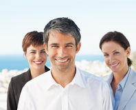 Group of happy business colleagues smiling Stock Photo