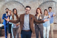 Group of happy business people and company staff in modern office. Representig company Stock Image