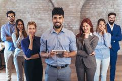 Group of happy business people and company staff in modern office. Representig company Stock Photo